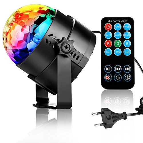 niubier discokugel partylicht discolicht led disco lichteffekte mit fernbedienung 7 farbe rgb dj. Black Bedroom Furniture Sets. Home Design Ideas