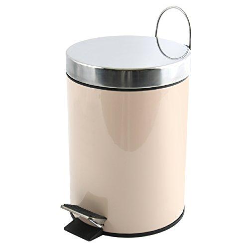msv kosmetikeimer beige m lleimer treteimer abfalleimer 3 liter mit herausnehmbaren. Black Bedroom Furniture Sets. Home Design Ideas