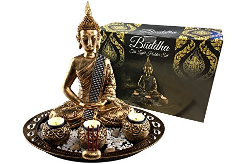budda figur statue deko set buddha dekoration skulptur auf deko teller mit teelichthalter. Black Bedroom Furniture Sets. Home Design Ideas