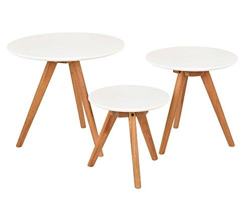 Ts ideen 3er set design beistelltische rund eiche wei for Designstuhl angie
