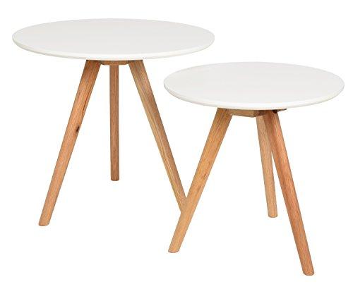 ts ideen 2er set design beistelltische walnuss rund wei kaffeetisch couchtisch nachttisch soxeno. Black Bedroom Furniture Sets. Home Design Ideas
