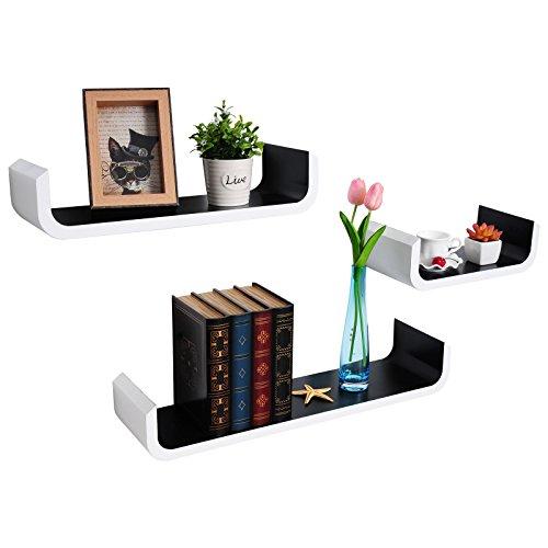woltu rg9273sz wandregal wandboard h ngeregal diy regal u f rmig uv wei lackiert schwarz. Black Bedroom Furniture Sets. Home Design Ideas