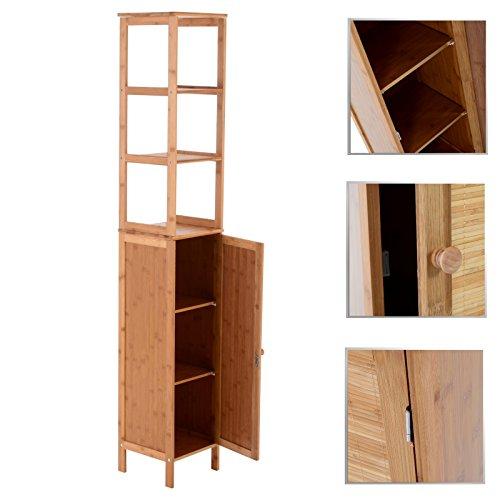 bambus badm bel hochschrank 3 regalen oben mit 1 t r unten badezimmer m bel bad soxeno. Black Bedroom Furniture Sets. Home Design Ideas