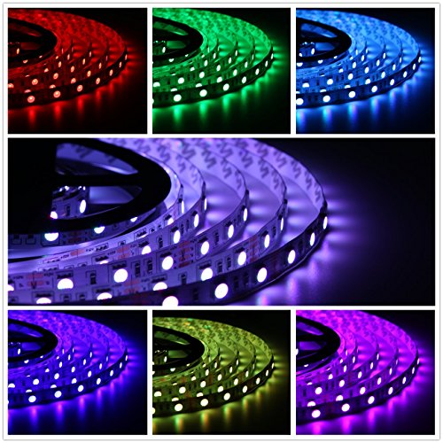 salcar 5m rgb led strip led streifen mit 300 leds smd5050 16 farben ausw hlbar inkl 24 tasten. Black Bedroom Furniture Sets. Home Design Ideas