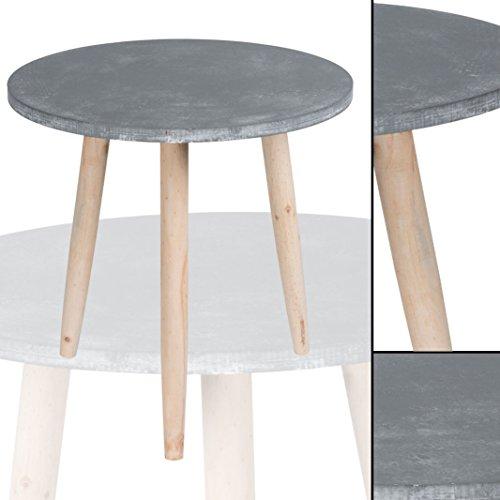 beistelltisch 007 grau betonoptik rund massiv pinienholz abstelltisch nachttisch couchtisch. Black Bedroom Furniture Sets. Home Design Ideas