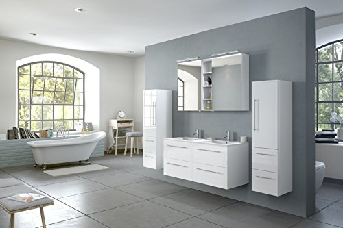 sam badm bel set 4 tlg hochglanz wei softclose badezimmerm bel doppelwaschplatz 120 cm. Black Bedroom Furniture Sets. Home Design Ideas