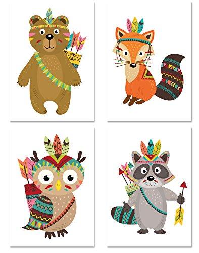 kinder poster set indianer 4 motive din a4 hochformat dekoration f rs kinderzimmer babyzimmer. Black Bedroom Furniture Sets. Home Design Ideas