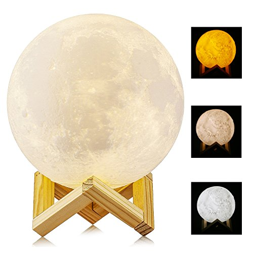 gr er 15cm mond lampe nachtlampe 3d mond lampe mondlicht aled light 5 9 zoll durchmesser mond. Black Bedroom Furniture Sets. Home Design Ideas