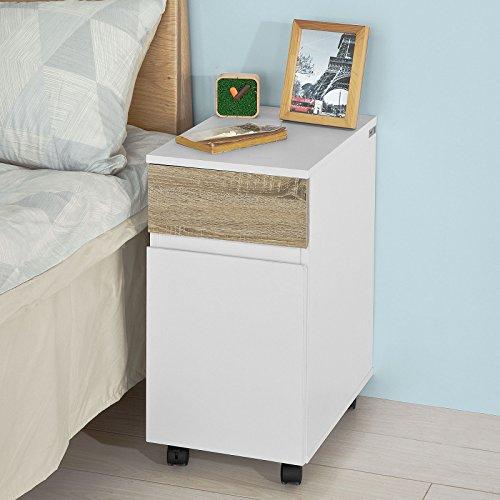 sobuy fbt54 wn beistellwagen nachttisch nachtschrank kommode mit 1 schublade und 1 schrank. Black Bedroom Furniture Sets. Home Design Ideas