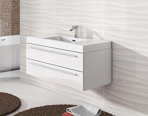 unterschrank schrank waschbecken waschtisch badezimmer badm bel rome 100 cm hochglanz wei. Black Bedroom Furniture Sets. Home Design Ideas