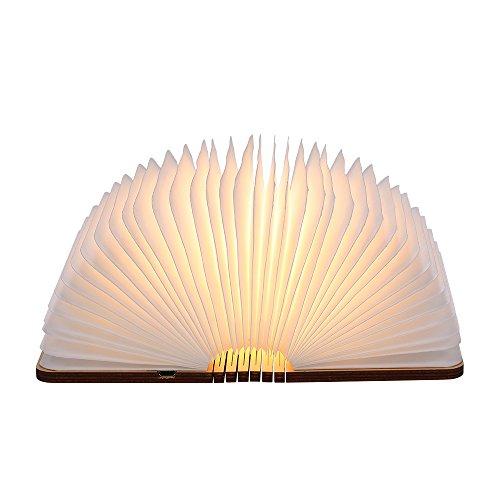 tomshine stimmungsbeleuchtung buch lampe nachttischlampe tischleuchte warmwei aus holz papier. Black Bedroom Furniture Sets. Home Design Ideas