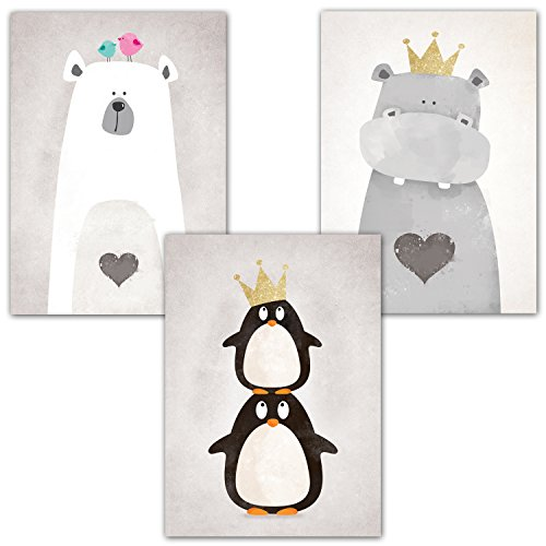frechdax 3er set kinderzimmer babyzimmer poster din a4 ohne bilderrahmen m dchen junge. Black Bedroom Furniture Sets. Home Design Ideas