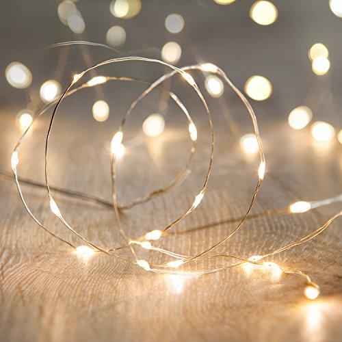 20er LED Draht Micro Lichterkette Perlweiß Batteriebetrieb Lights4fun
