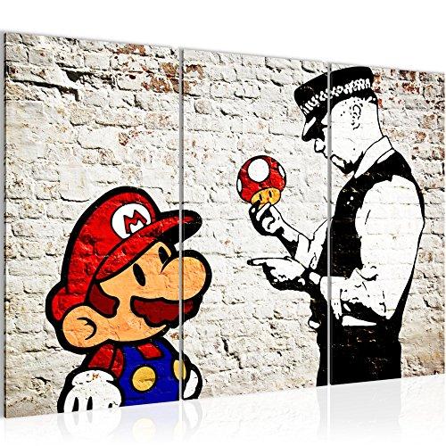 8015a05c17 Bilder Mario and Cop Banksy Ziegel Mauer Wandbild 120 x 80 cm Vlies -  Fertig zum Aufhängen 303031a - Leinwand Bild XXL Format Wandbilder  Wohnzimmer Wohnung ...