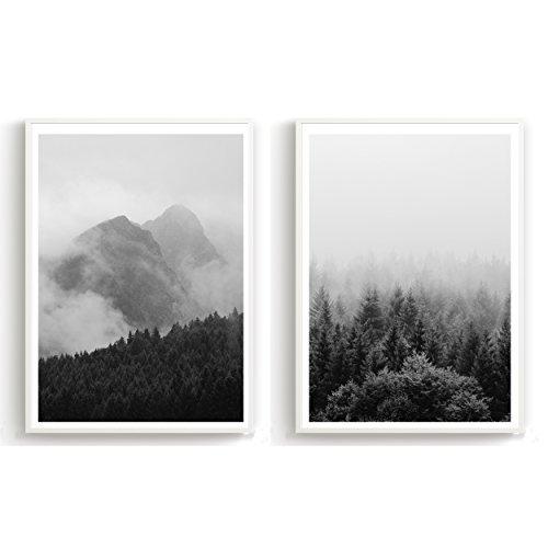 Schwarz Weiß Im Arbeitszimmer: Für Wohnzimmer Schlafzimmer Arbeitszimmer Din A4 3er-Set