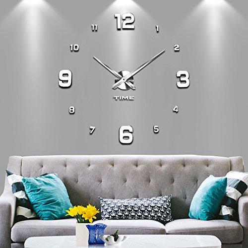2 Jahre Garantie Silber 22 U2013 Vangold Moderne Mute DIY Große Wanduhr 3D  Aufkleber Home Office Decor Geschenk