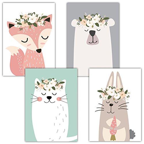 Frechdax 4er Set Kinderzimmer Babyzimmer Poster Bilder Din A4 | Mädchen  Junge Deko | Dekoration Kinderzimmer | Waldtiere Safari Skandinavisch 4er  Set Mint, ...