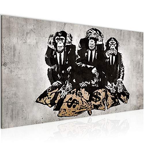159d860a97 Leinwand Bild XXL Format Wandbilder Wohnzimmer Wohnung Deko Kunstdrucke  Braun 1 Teilig -100% MADE IN GERMANY – Bilder Banksy Street Art Affen  Geldsäcke ...