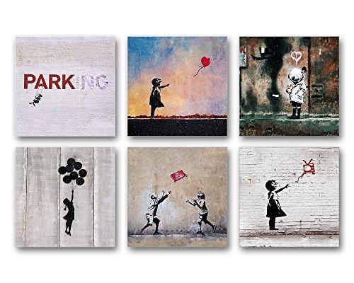 banksy bilder set a 6 teiliges bilder set jedes teil 29x29cm seidenmatte optik auf forex. Black Bedroom Furniture Sets. Home Design Ideas