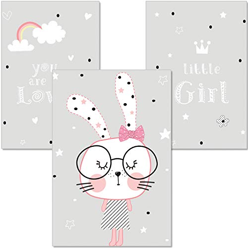 A4 Wandbilder Babyzimmer Hase Brille Regenbogenp9 Artpin 3er